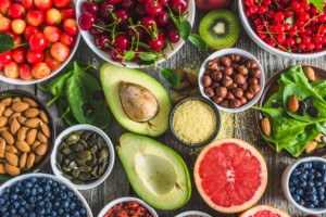 A collection of healthy fruit, nuts and vegetables that can help with Dry Eye